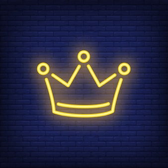 Yellow crown night bright advertisement element. Gambling concept for neon sign
