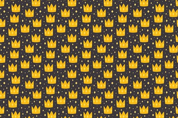어두운 배경 패턴 질감 종이에 노란색 크라운