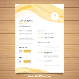 Yellow curriculum template with abstract style