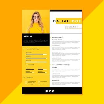 Yellow curriculum vitae template