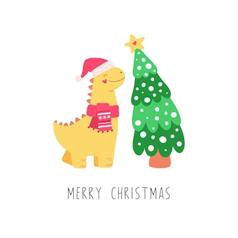 노란색 귀여운 공룡, 크리스마스 트리. 어린이를위한 만화 캐릭터.