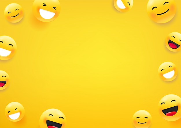 Yellow cute faces. social media message   background. copy space for a text