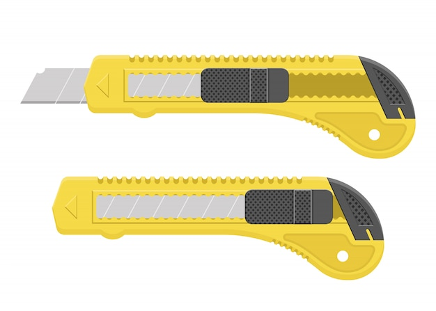 Yellow cutter blade design illustration isoalted on white background