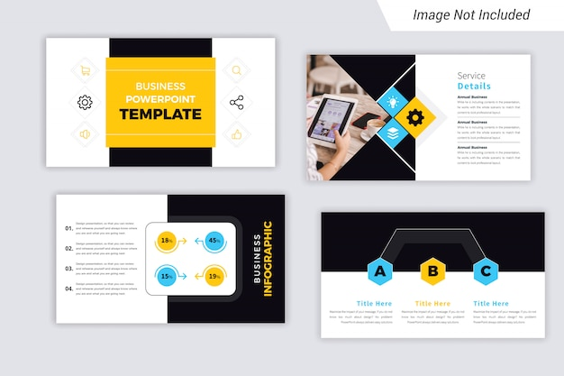 Yellow and cyan color corporate business  presentation slides design
