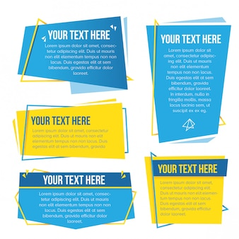 Yellow and cyan themed abstract paper banner set