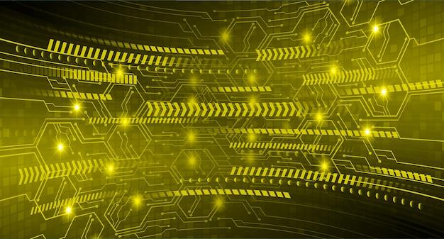 黄色のサイバー回路の将来の技術コンセプト