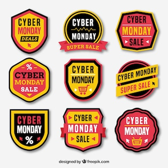 Yellow cyber monday labels