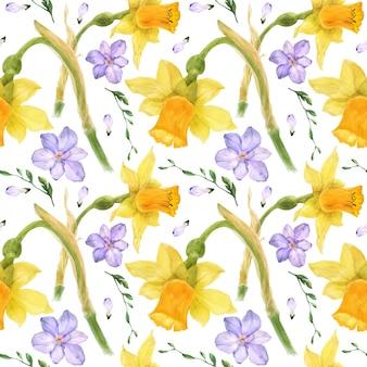 노란 수 선화와 보라색 프리 지아 수채화 원활한 패턴 프리미엄 벡터