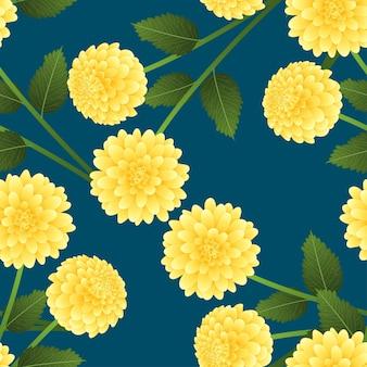 Yellow dahlia on indigo blue background
