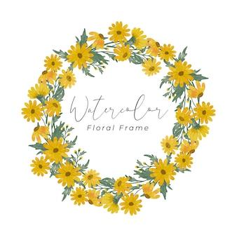 노란 데이지 꽃 수채화 프레임 디자인 손으로 노란 꽃 색과 녹색 잎 색 그리기
