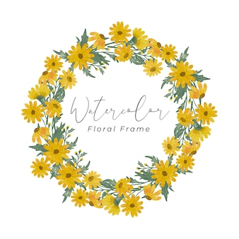 Yellow daisy flower watercolor frame design hand drawing with yellow flower color and green leaf color