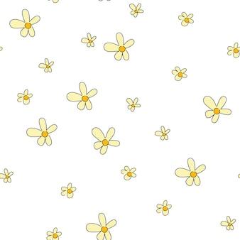 Желтые цветы ромашки на белом фоне вектор цветок бесшовные модели для минималистского дизайна. векторный клипарт цветочный текстиль, оберточная бумага, весенние открытки и узоры.