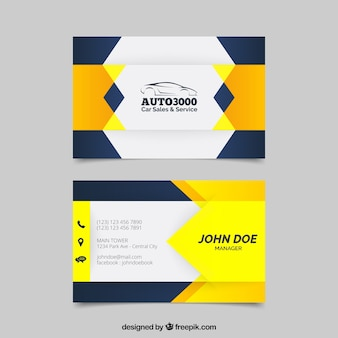 Yellow and dark blue business card design