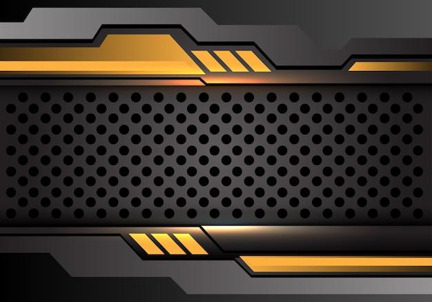 Yellow dark gray circle mesh futuristic style background.