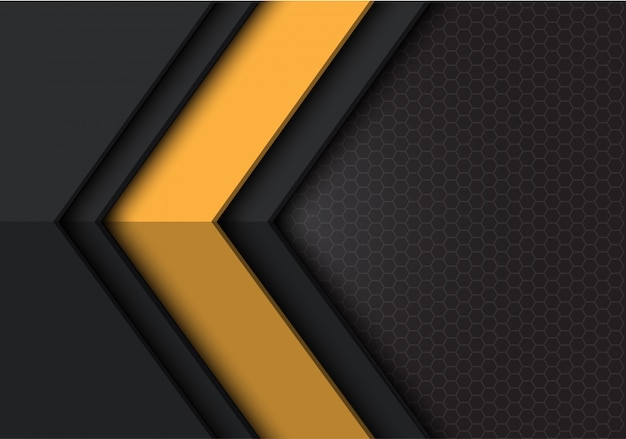 Yellow dark grey arrow direction hexagon mesh background.
