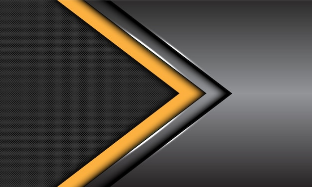 Yellow dark grey metallic arrow direction circle mesh futuristic background.
