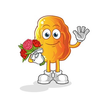 Yellow date with bouquet mascot cartoon