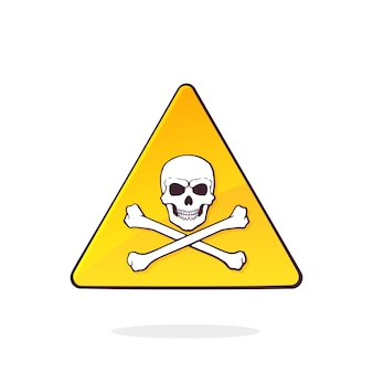 두개골과 이미지 삼각형 주의 기호 벡터 일러스트와 함께 노란색 치명적인 위험 기호