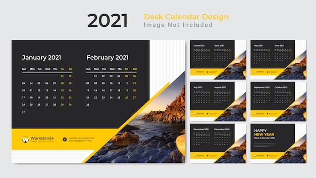 Yellow desk calendar, date planner for 2021