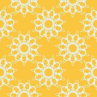 흰색 빈티지 장신구와 노란색 이슬 완벽 한 패턴입니다. 인도 꽃 요소입니다. 벽지, 직물, 포장, 포장용 그래픽 장식.