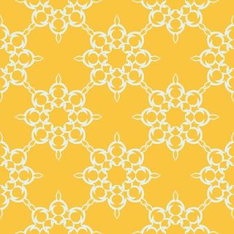 흰색 빈티지 장신구와 노란색 이슬 완벽 한 패턴입니다. 빈티지 스타일 템플릿의 배경 화면입니다. 벽지, 직물, 포장, 포장용 그래픽 장식.