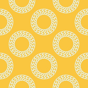 흰색 빈티지 장신구와 노란색 이슬 완벽 한 패턴입니다. 빈티지 스타일 템플릿의 배경 화면입니다. 인도 꽃 요소입니다. 벽지, 직물, 포장 및 종이용 그래픽 장식.