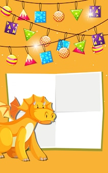 Yellow dinosaur celebration invitation with copyspace