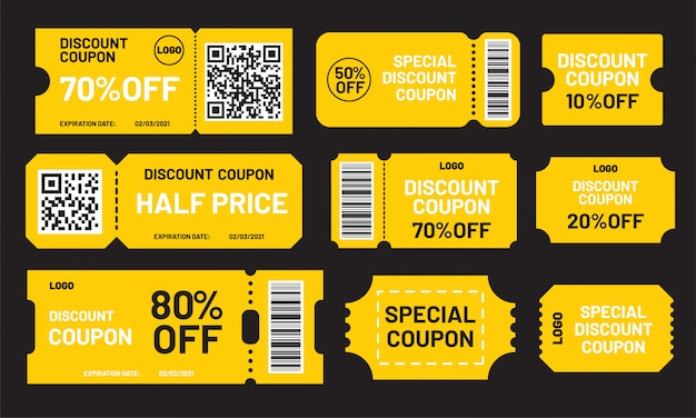 Yellow discount coupon set. half price, 10, 20, 50, 70, 80% off offers template. premium special price coupons and best promo retail pricing vouchers.