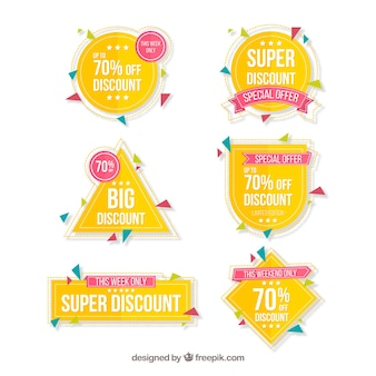 Yellow discount sticker collection