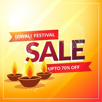 Yellow discount voucher with three candles for diwali