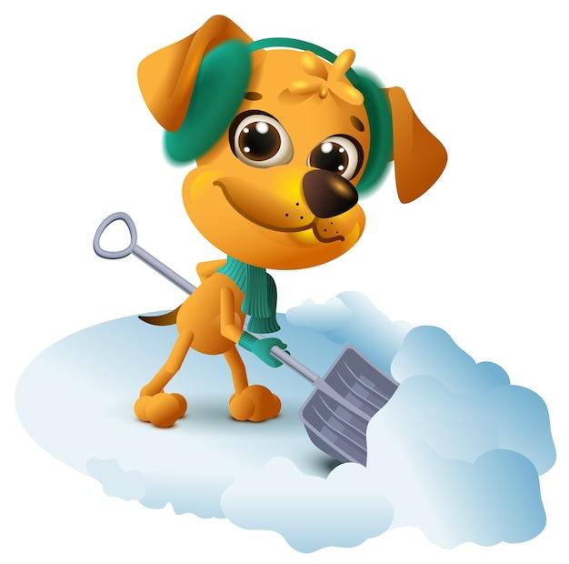 노란색 개는 삽으로 눈을 청소합니다.