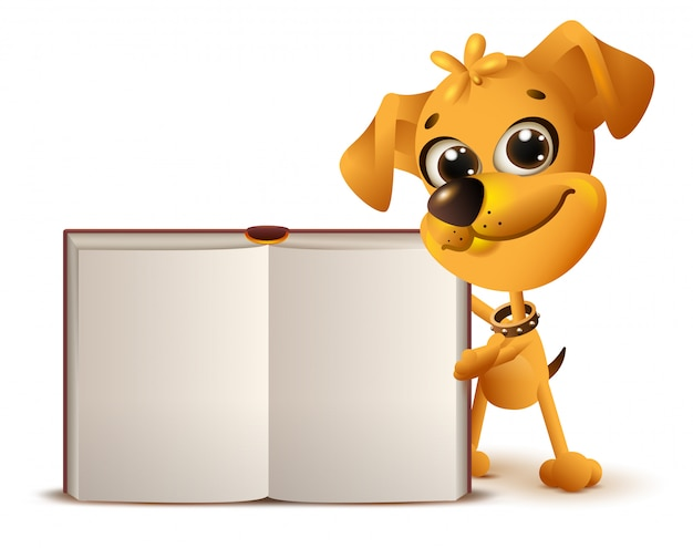 Yellow dog holds open book