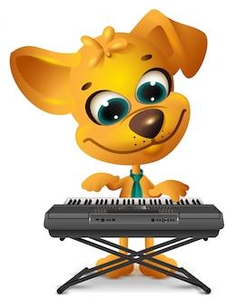 Желтая собака играет на синтезаторе
