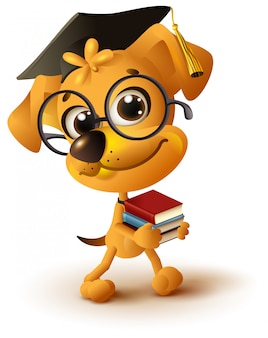 Yellow dog teacher holds stack of books