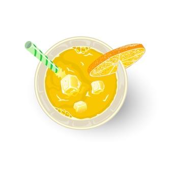 밀짚, 오렌지 또는 레몬 조각과 함께 유리에 감귤류 및 기타 재료의 노란색 음료. 아페리티프, 알콜 칵테일 파라다이스, 스크루 드라이버, 데킬라 선 라이즈, 미모사. 목 테일. 평면도.