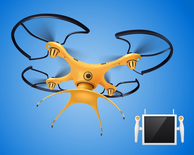 Yellow drone with remote control realistic composition electronic object for different needs blogger company government or players