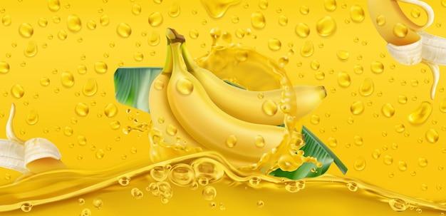 Yellow drops. banana, tropical fruit. 3d realistic vector