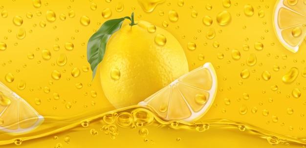 Yellow drops. lemon. 3d realistic vector