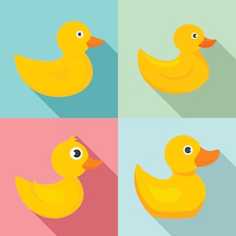 Yellow duck icons set, flat style