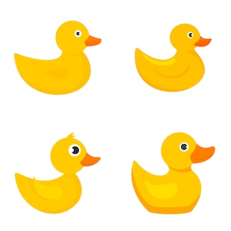 Yellow duck icons set