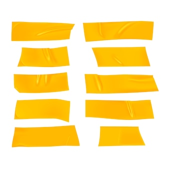 Yellow duct tape set. realistic yellow adhesive tape pieces for fixing isolated