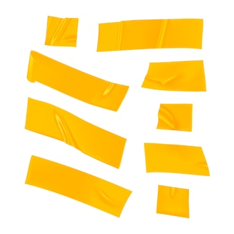 노란색 덕트 테이프 세트. 고립 된 고정을위한 현실적인 노란색 접착 테이프 조각입니다. 종이가 붙어 있습니다.