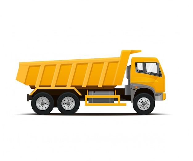 白い背景の上の黄色のダンプトラック。図。