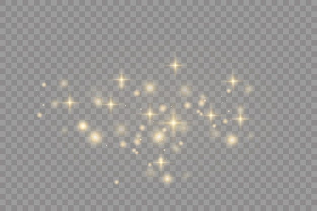 黄色いほこり美しい光が点滅するほこりの粒子が宇宙を飛ぶボケ効果水平光線暗い背景に輝くほこりの筋