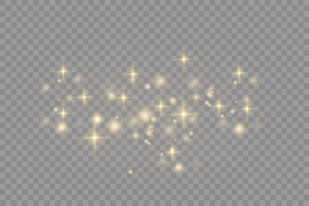 黄色いほこり美しい光が点滅するほこりの粒子が宇宙を飛ぶボケ効果水平光線暗い背景に輝くほこりの筋 Premiumベクター
