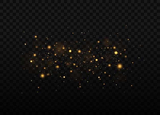 황사 아름다운 빛이 깜박입니다. 먼지 입자가 우주에서 날다