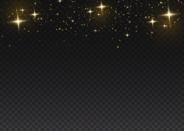 노란 먼지. 보케 효과. 아름다운 빛이 깜박입니다. 먼지 입자는 우주에서 날아갑니다. 어두운 배경에 먼지의 빛나는 줄무늬.