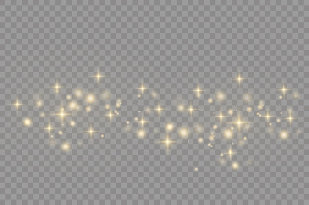 黄色いほこりボケ効果美しい光が点滅するほこりの粒子が宇宙を飛ぶ水平方向の光線暗い背景に輝くほこりの筋