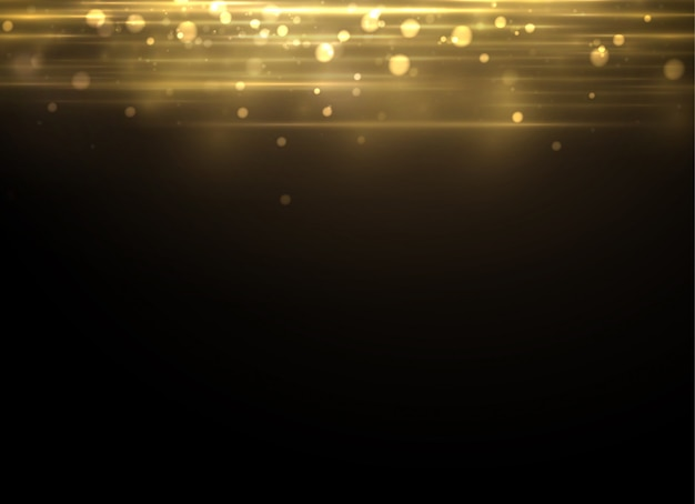 Yellow dust. dust particles fly in space. bokeh effect. horizontal light rays. beautiful light flashes.