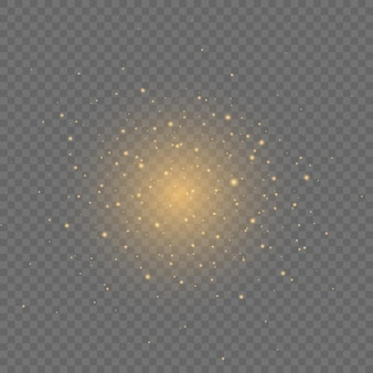 Yellow dust flying in space on transparent